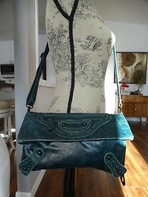 $ CDN69 • Buy DANIER Teal Leather Cross Body Bag