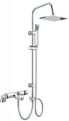 Thermostatic Bath Shower Mixer Tap With Square 3 Way Rigid Riser Rail Kit *H • 79.95£