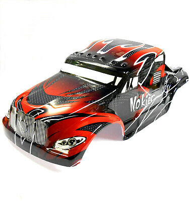 08327 1/8 Scale RC Nitro Monster Truck Body Shell Cover Red Black Cut • 20.99£