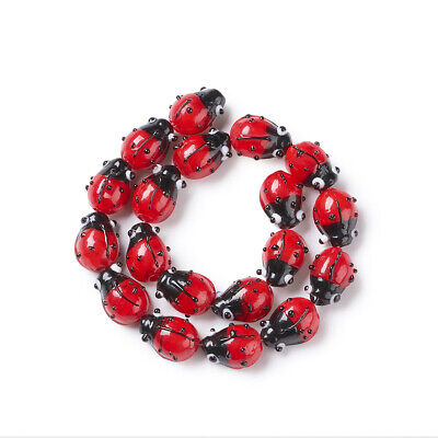 20pcs/Strd Handmade Lampwork Glass Beads 3D Ladybug Unique Spacers Red 12~14mm • 3.95£