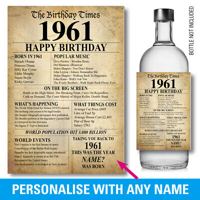 £3.37 • Buy 1961 60th PERSONALISED GIN VODKA WINE Bottle Label Birthday Year Born Facts 149