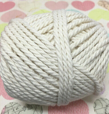 AU14.95 • Buy 100% Natural Cotton Cord Rope - 3-4mm 3 Ply Twisted Wall Art/macrame/looms/soft