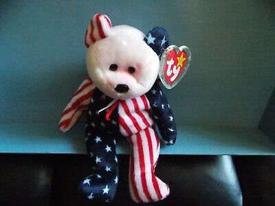 $147 • Buy Ty Beanie Baby Spangle Bear *RARE* PINK FACE With Tag Protector Patriotic USA