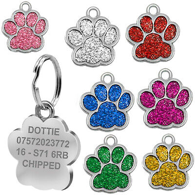 £2.85 • Buy Personalised Pet Tags Engraved Dog Cat Charm Glitter Name Collar Animal ID Neck