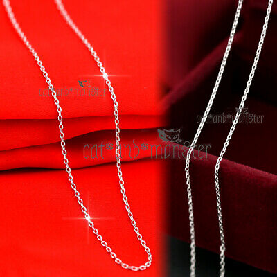 AU8.97 • Buy 18K WHITE GOLD GF SILVER LADIES GIRLS MENS 1MM CHAIN NECKLACE For PENDANT 45cm