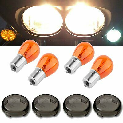 AU26.99 • Buy 4Pcs Smoked Turn Signal Light Lens Cover W/ 1156 Amber Bulb For Harley Davidson