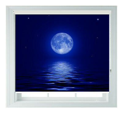 Full Moon Over Sea Blue Printed Photo Black Out Roller Blinds 2 3 4 5 6ft • 65£