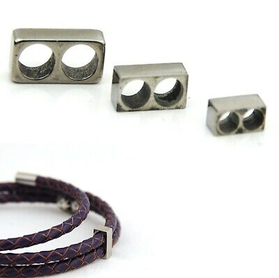 Stainless Steel Two Holes Spacer Position Lock Multilayer Leather Bracelet 3,4,5 • 2.99£