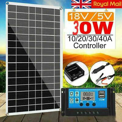 30W Dual USB 12V Solar Panel W/ Car Charger 10/20/30/40A Controller  • 30.99£