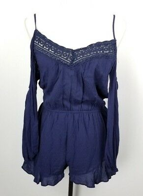 AU41.25 • Buy Ecote Urban Outfitters Cold Shoulder Romper M Navy Blue Rayon