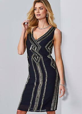 Striking Art Deco Style Hand Beaded Navy Evening Party Shift Dress Size 16 • 32.99£