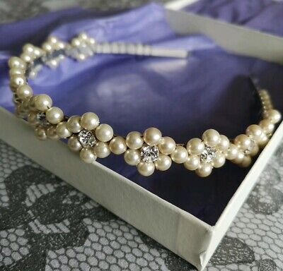 Handmade Pearl And Crystal Tiara Headband. Ivory Clear Silver. New In Box • 11.50£