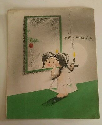 $ CDN9.99 • Buy Sweet Vintage Christmas Card Folded Little Girl With Yarn Pigtails Collectible