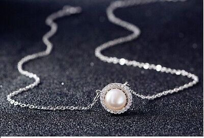 Pearl Crystal Stone Pendant Necklace 925 Sterling Silver Chain Womens Jewellery • 3.29£