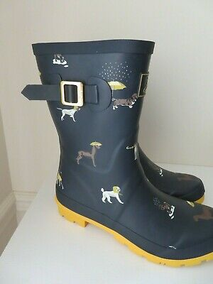 Joules Mid Rain Boots Molly Welly Yellow Gold Dogs Doggy New 8 • 55.99$
