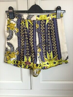 Topshop Scarf Chain Floral Silk Satin Appearance Smart Blue Gold Shorts 8 10 • 5£