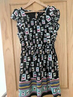 Yumi Black Green Pink Floral Butterfly Stamp Print Cap Sleeve Tea Dress, Size 8 • 12£