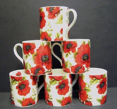 £16.95 • Buy 6 A Set Of Six Data Poppy Balmoral Fine Bone China Mugs Cups Beakers To Clear