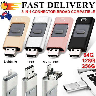 AU27.59 • Buy 256GB I Flash Drive USB Memory Stick HD U Disk 3 In 1 For Android IOS IPhone PC^
