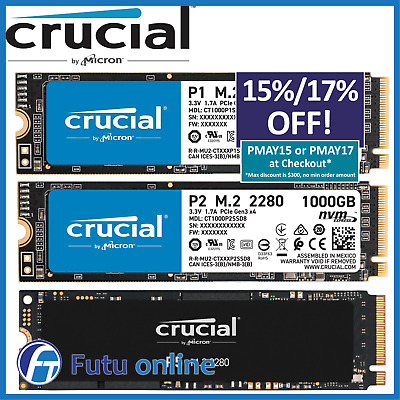 AU99 • Buy 500GB 1TB Crucial P1 P5 M.2 PCIe NVMe SSD Internal Solid State Drive BRAND NEW