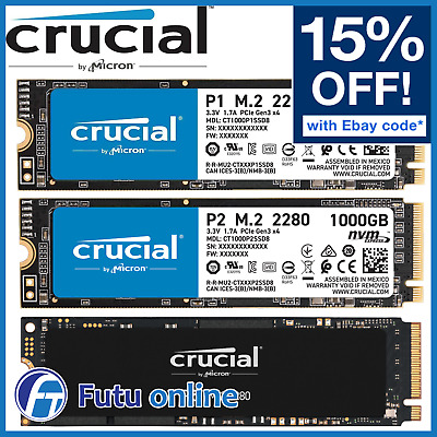AU155 • Buy Crucial P1 P2 P5 1TB 500GB 2TB SSD M.2 NVMe PCIe Internal Solid State Drive