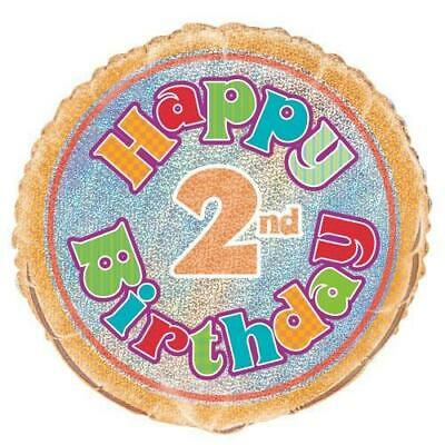 AU4.79 • Buy Happy 2nd Birthday Prismatic 18in. Foil Balloon Pk 1