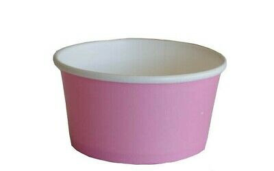 5oz PINK DISPOSABL ICE CREAM TUBS WITH PET DOMED CLEAR LIDS - CHOOSE QTY • 24.99£