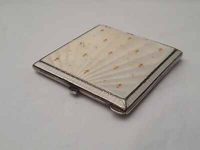Silver Enamel Guilloche Compact Case. Birmingham 1913. Monarchy Connection? • 300£