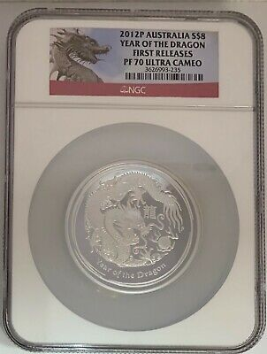 $300 • Buy 2012 AUSTRALIA  5 OZ. NGC PF70 ULTRA CAMEO $8 SILVER YEAR OF THE DRAGON Va