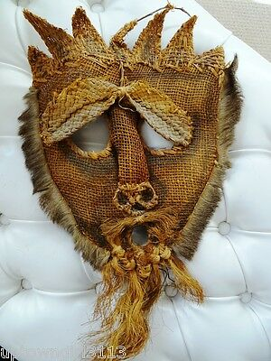 $ CDN75 • Buy UGLY MASK Oddity BURLAP REAL FUR Vintage TRIBAL ? Different STRAW GRASSES Scary