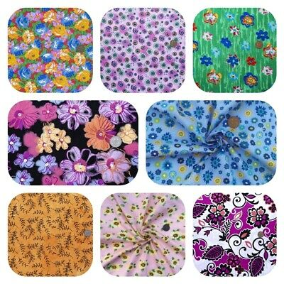 £4.99 • Buy 100% WIDE COTTON FLORAL FABRIC Vintage Flowers Roses Craft Masks Dress FREE POST