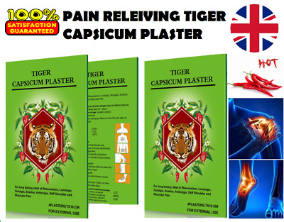Capsicum Plaster TIGER Hot Pain Relieving Patches Muscle Relief+ Menthol Extract • 5.45£