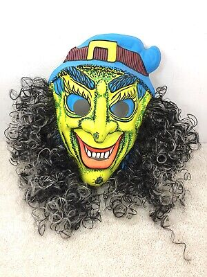$ CDN29.99 • Buy Vintage Halloween Mask  Black Light With W Hair Vacuum Formed Green Blue
