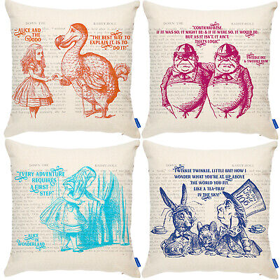 £12.95 • Buy Alice Wonderland Cushion Cover Mad Hatter Pillow Bonkers Home Birthday Gift