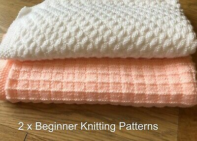 £3.95 • Buy KNITTING PATTERNS Easy Baby Blankets X 2, Beginner - Simple Squares & Bumps