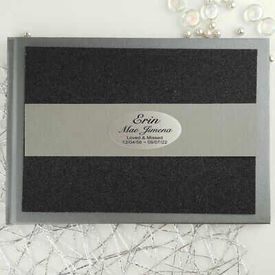 AU46.50 • Buy Memorial Funeral Personalised Glitter Guest Book- Black - Made To Order