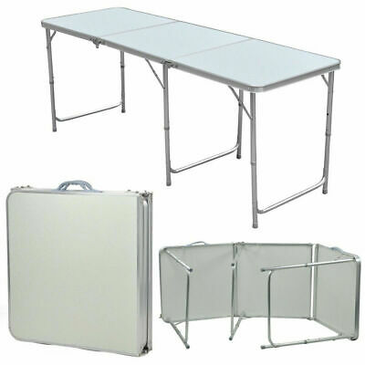 1.8M 6FT Aluminum Portable Adjustable Folding Table Camping Kitchen Dining Desk • 30.99£