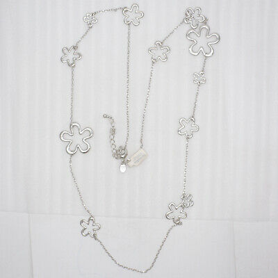 $ CDN13.56 • Buy NWT Lia Sophia Jewelry Rhodium Plated Flowers Charm Link Long Necklace For Women