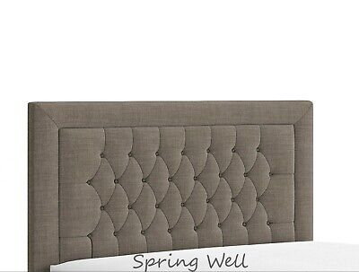 Beautiful Design Alton Bumper Buttons Headboard In Linen Fabric 26''  Height  • 39.95£