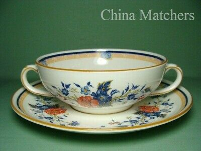 Crown Staffordshire Penang Twin Handled Soup Cup & Saucer,VGC • 24£