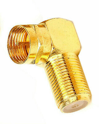 £3.50 • Buy 5 X Gold Plated F Plug Male To F Socket 90 Degree Right Angled Adaptor Connector