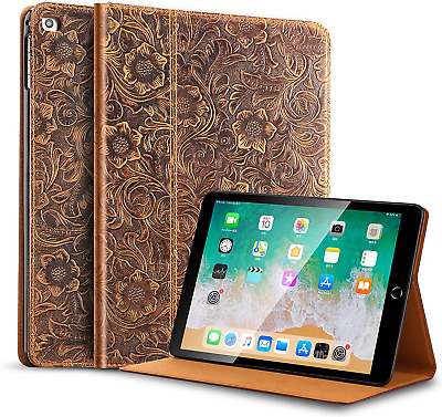 $32.99 • Buy 9.7 Inch Cowhide Folio Cover For IPad 6th Gen / 5th Gen Genuine Leather Case