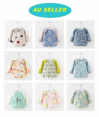 AU14.98 • Buy  Baby Kid Toddler Pure Cotton Long Sleeve Waterproof Art Smock Feed Bib Apron