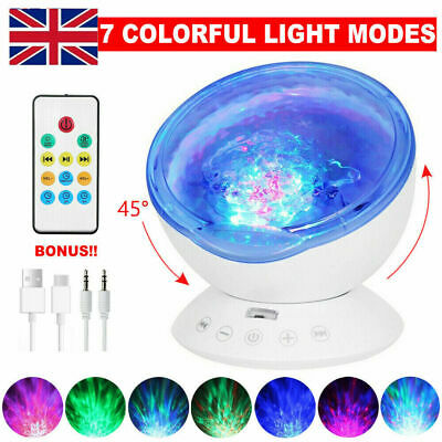 £11.69 • Buy Kids Relaxing LED Night Light Projector Remote Lamp Ocean Music Projection Gift