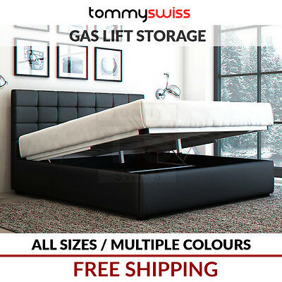 AU299 • Buy Tommy Swiss: Deluxe King, Queen & Double Gas Lift Storage Pu Leather Bed Frame