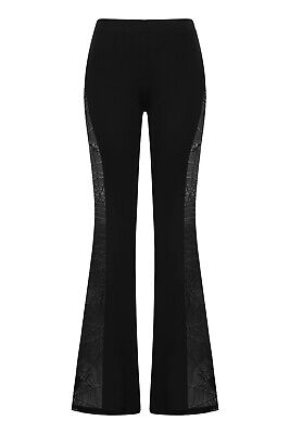 Gothic Rockabilly Spider Web Side Lace Everlasting Flare Trousers BANNED Apparel • 24.99£