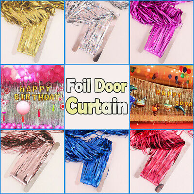 2M/3M Tinsel Shimmer Foil Fringe Door Curtain Wedding Birthday Party Decorations • 1.75£