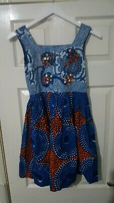 Preowened Girl African Handmade Sleeveless Dress Print For All Occasions 10-11yr • 11.99£