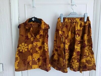 Preowened Girls African Handmade Multicoloured Skirt And Blouse Print .   • 14.99£