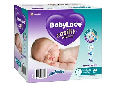 AU28.95 • Buy BabyLove Cosifit Nappies Newborn (Up To 5kg) X 99 (Limit 2 Boxes Per Order)